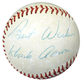 """Hank Aaron Autographed Official NL Feeney Baseball Atlanta Braves """"Best Wishes"""" Vintage Playing Days Signature Beckett BAS #B27547"""