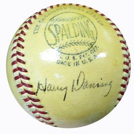 Harry Danning Autographed Official NL Frick Baseball New York Giants Vintage Beckett BAS #B26646