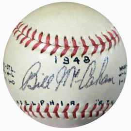 Bill McCahan Autographed Official AL Harridge Baseball Philadelphia Athletic's Vintage Beckett BAS #B26644