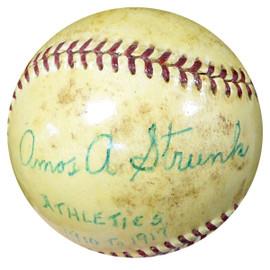 """Amos Strunk Autographed Official AL Harridge Baseball Philadelphia A's """"Athletics 1910-1917"""" Vintage Beckett BAS #B26660"""