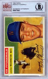 Ed Fitzgerald Autographed 1956 Topps Card #198 Washington Nationals Beckett BAS #9770821