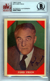 Ford Frick Autographed 1960 Fleer Card #74 Commissioner Beckett BAS #9770920
