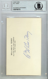 Bill Terry Autographed 3x5 Index Card New York Giants Beckett BAS #9769776