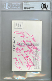 """Muhammad Ali Autographed 3x5.5 Postcard """"World Heavy Weight Champion"""" Signed In 1965 Beckett BAS #9770048"""