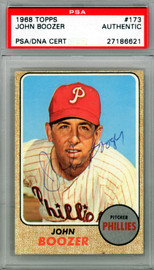 John Boozer Autographed 1968 Topps Card #173 Philadelphia Phillies PSA/DNA #27186621