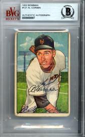 Al Corwin Autographed 1952 Bowman Card #121 New York Giants Beckett BAS #9888907