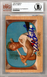 Al Smith Autographed 1955 Bowman Card #20 Cleveland Indians Beckett BAS #9888960