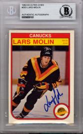 Lars Molin Autographed 1982 O-Pee-Chee Card #353 Vancouver Canucks Beckett BAS #9889161