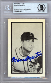 "Morris ""Morrie"" Martin Autographed 1953 Bowman Reprint Card #53 Philadelphia A's Beckett BAS #9888191"