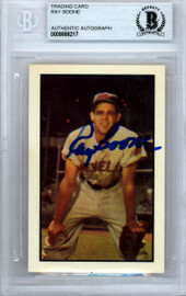 Ray Boone Autographed 1953 Bowman Reprint Card #79 Cleveland Indians Beckett BAS #9888217