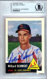 Willard Schmidt Autographed 1953 Topps Archives Card #168 St. Louis Cardinals Beckett BAS #9888232