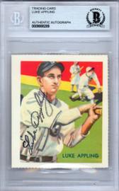 Luke Appling Autographed 1978 1936 Diamond Stars Reprint Card #95 Chicago White Sox Beckett BAS #9888289