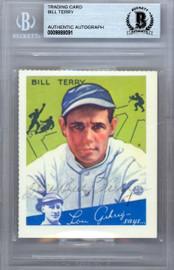 Bill Terry Autographed 1984 1934 Goudey Reprint Card #21 New York Giants Beckett BAS #9888091
