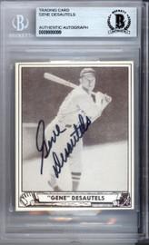 Gene Desautels Autographed 1986 1940 Play Ball Reprint Card #28 Boston Red Sox Beckett BAS #9888099