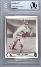 Bill Jurges Autographed 1986 1940 Play Ball Reprint Card #89 New York Giants Beckett BAS #9888106