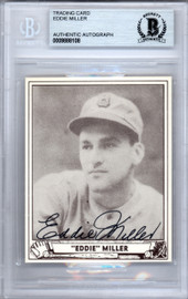 Eddie Miller Autographed 1986 1940 Play Ball Reprint Card #56 Boston Bees Beckett BAS #9888108
