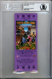 John Elway Autographed SB XXXII Purple Ticket Denver Broncos Beckett BAS #9770187