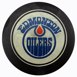 Unsigned Edmonton Oilers Vintage WHA Puck SKU #123623