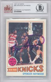 Spencer Haywood Autographed 1977 Topps Card #88 New York Knicks Beckett BAS #10008964