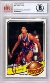 John Long Autographed 1979 Topps Rookie Card #38 Detroit Pistons Beckett BAS #10009123