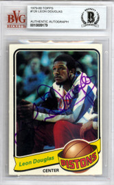 Leon Douglas Autographed 1979 Topps Card #126 Detroit Pistons Beckett BAS #10009179
