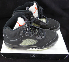 Air Jordan V Retro + Black / Blk Met Silver Size 9.5 Unsigned New Shoes In Box SKU #124596
