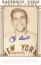 Yogi Berra Autographed 3.5x5.5 Baseball's Great Hall Of Fame Postcard New York Yankees Steiner SKU #126225