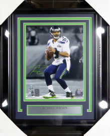 Russell Wilson Autographed Framed 8x10 Photo Seattle Seahawks Super Bowl RW Holo Stock #126528