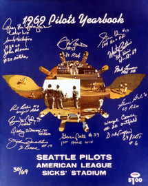 1969 Inaugural Season Seattle Pilots Autographed 16x20 Photo With 15 Total Signatures Including Jim Bouton #/69 PSA/DNA Stock #1015