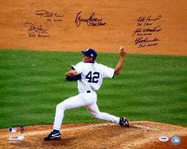 """MLB 300 Save Pitchers Autographed 16x20 Photo With 7 Total Signatures Including Dennis Eckersley & Bruce Sutter """"Saves"""" PSA/DNA Stock #10743"""