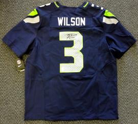 Seattle Seahawks Russell Wilson Autographed Blue Nike Elite Jersey Size 52 RW Holo Stock #60977