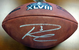 Russell Wilson Autographed Super Bowl Leather Football Seattle Seahawks RW Holo Stock #72352