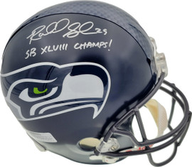 """Richard Sherman Autographed Seattle Seahawks Super Bowl Full Size Helmet """"SB XLVIII Champs!"""" In Silver RS Holo Stock #72438"""