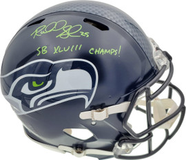 """Richard Sherman Autographed Seattle Seahawks Authentic Super Bowl Speed Full Size Helmet """"SB XLVIII Champs!"""" In Green RS Holo Stock #72444"""