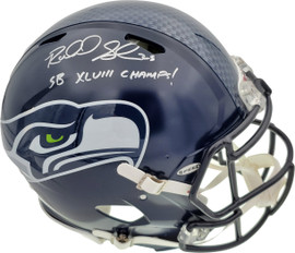 """Richard Sherman Autographed Seattle Seahawks Authentic Super Bowl Speed Full Size Helmet """"SB XLVIII Champs!"""" In Silver RS Holo Stock #72445"""