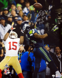 """Richard Sherman Autographed 16x20 Photo Seattle Seahawks """"The Tip 1/19/14"""" RS Holo Stock #72451"""