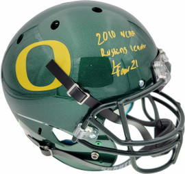 "LaMichael James Autographed Oregon Ducks Green Full Size Helmet ""2010 NCAA Rushing Leader"" PSA/DNA Stock #72891"