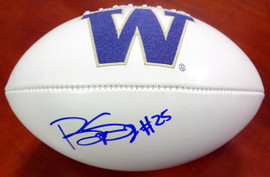 Bishop Sankey Autographed White Logo Football Washington Huskies MCS Holo Stock #73077