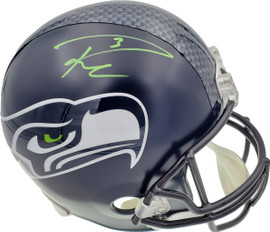 Russell Wilson Autographed Seattle Seahawks Full Size Replica Helmet In Green RW Holo Stock #74631
