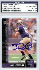 Jake Locker Autographed 2011 Upper Deck Rookie Card #69 Washington Huskies PSA/DNA Stock #75365