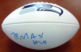 Byron Maxwell Autographed White Logo Football Seattle Seahawks MCS Holo Stock #76412