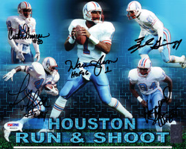 "Houston Oilers Run & Shoot Autographed 8x10 Photo ""HOF 06"" With 5 Signatures Including Warren Moon PSA/DNA Stock #77782"