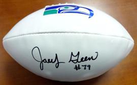 Jacob Green Autographed White Logo Football Seattle Seahawks MCS Holo Stock #82241