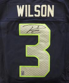 Seattle Seahawks Russell Wilson Autographed Blue Nike Elite Jersey Size 44 RW Holo Stock #88310