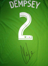 Seattle Sounders Clint Dempsey Autographed Green Adidas Jersey Size L PSA/DNA ITP Stock #89895