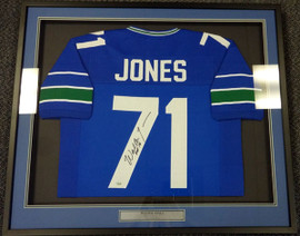 Seattle Seahawks Walter Jones Autographed Framed Blue Jersey MCS Holo Stock #90485