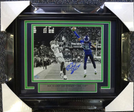 Richard Sherman Autographed Framed 8x10 Photo Seattle Seahawks The Tip RS Holo Stock #90586