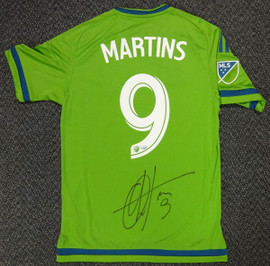 Seattle Sounders Obafemi Martins Autographed Green Adidas Jersey Size S MCS Holo Stock #90813