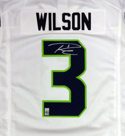 Seattle Seahawks Russell Wilson Autographed White Nike Twill Jersey Size L RW Holo Stock #90927