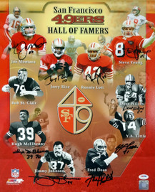 San Francisco 49ers Hall of Famers Autographed 16x20 Photo With 9 Signatures Including Joe Montana, Jerry Rice & Steve Young PSA/DNA Stock #93084